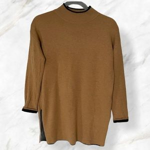 TopShop 2 brown pullover mock neck sweater long